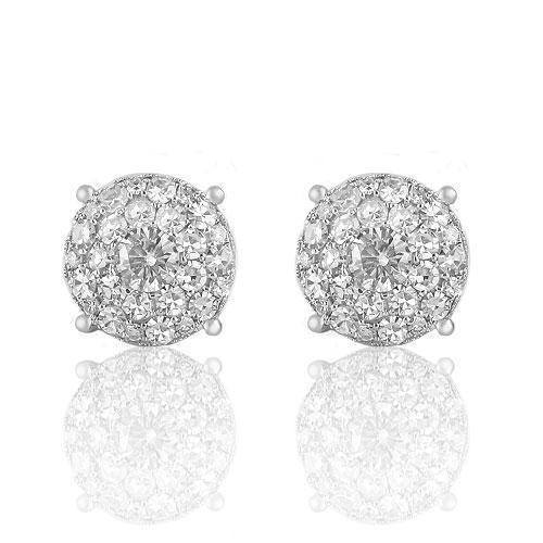14K White Solid Gold Round Cut  Diamond Cluster Earrings 4.00 Ctw