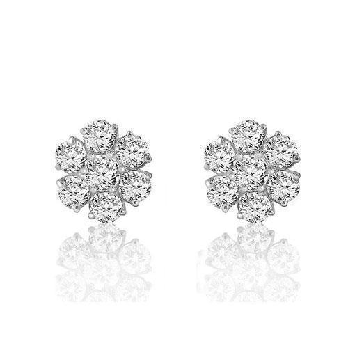 White 14K White Solid Gold Round Cut Prong Diamond Cluster Earrings 0.81 Ctw