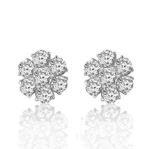 White 14K White Solid Gold Round Cut Prong Diamond Cluster Earrings 0.90 Ctw
