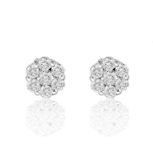 White 14K White Solid Gold Round Cut Prong Diamond Cluster Earrings 1.40 Ctw
