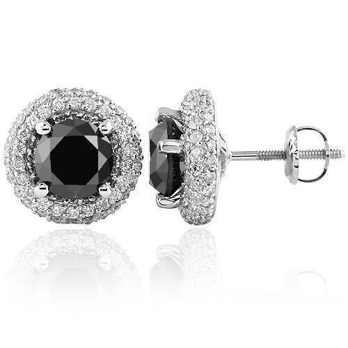 14K White Solid Gold Unisex Diamond Four Prong Stud Earrings With Black Diamonds 1.55 Ctw