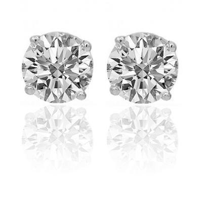 14K White Solid Gold Unisex Four Prong Diamond Stud Earrings 1.47 Ctw