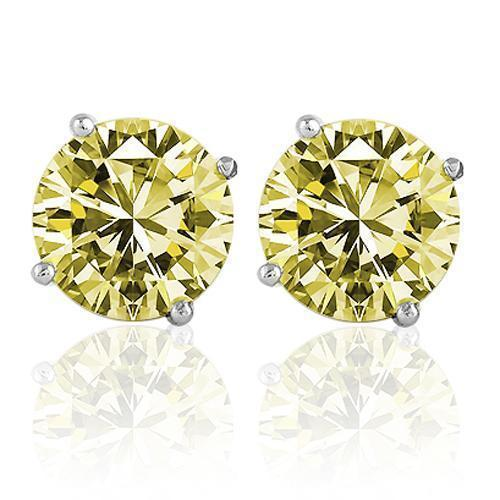 14K White Solid Gold Unisex Four Prong Diamond Stud Earrings With Yellow Diamonds 7.80 Ctw