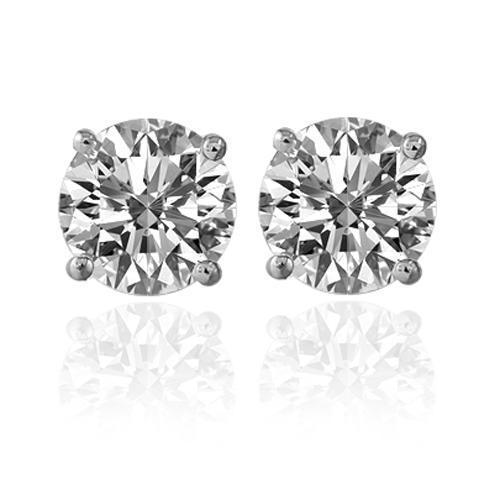 14K White Solid Gold Unisex Four Prong Stud Clarity Enhance Diamond Earrings 4.15 Ctw
