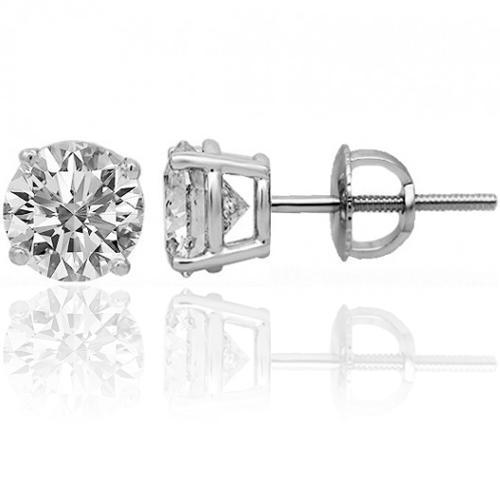 14K White Solid Gold Unisex Four Prong Stunning Diamond Stud Earrings 1.45 Ctw