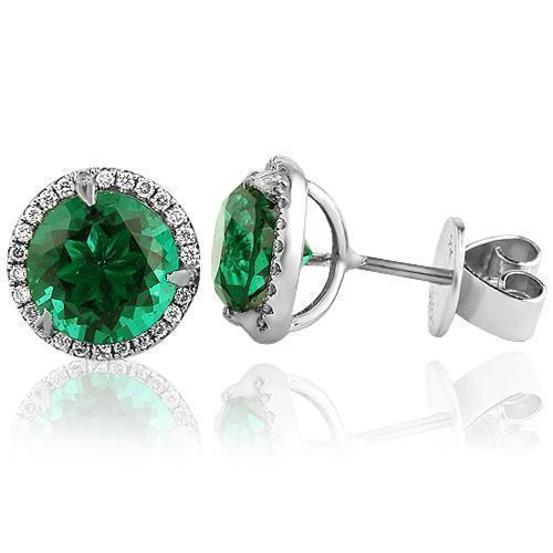 White 14K White Solid Gold Womens Diamond Stud Earrings With Emerald Center Stone 0.45 Ctw
