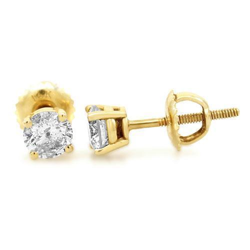 14K Yellow Gold Diamond Solitaire Stud Earrings 1.02 Ctw
