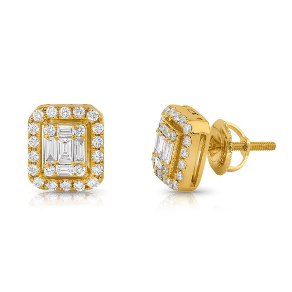 14K Yellow Gold Emerald and Round Cut Diamond Earrings 1.50 Ctw