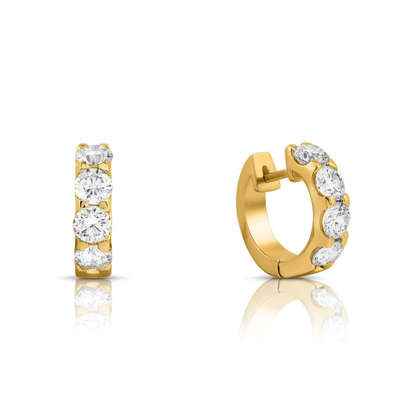14K Yellow GOLD WOMENS DIAMOND HOOP EARRINGS 1.90 CTW