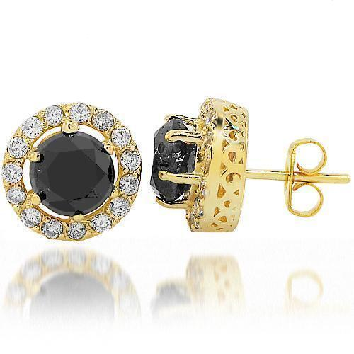 14K Yellow Solid Gold Black Diamond Stud Earrings 6.50 Ctw
