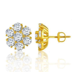 14K Yellow Solid Gold Clarity Enhanced Diamond Cluster Earrings 5.50 Ctw