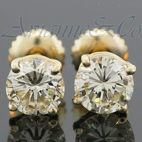 14K Yellow Solid Gold Clarity Enhanced Diamond Solitaire Stud Earrings 2.13 Ctw