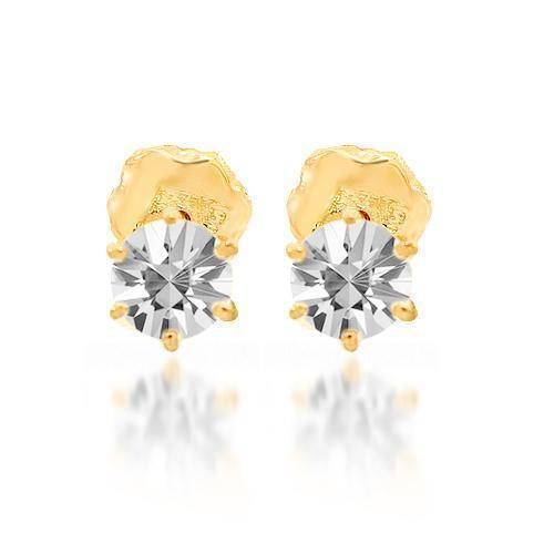 Yellow 14K Yellow Solid Gold Clarity Enhanced Diamond Stud Earrings 0.70 Ctw