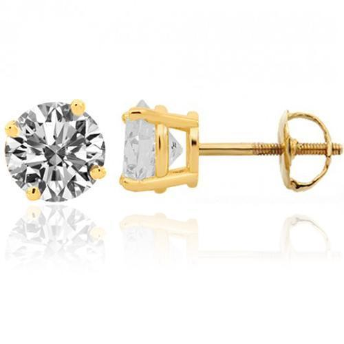 14K Yellow Solid Gold Classic Unisex Diamond Four Prong Stud Earrings 1.42 Ctw