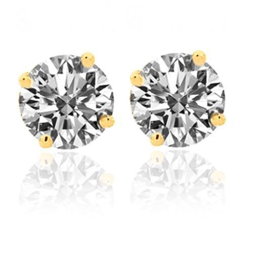 14K Yellow Solid Gold Classic Unisex Four Prong Stud Earrings With Round Diamonds 1.42 Ctw