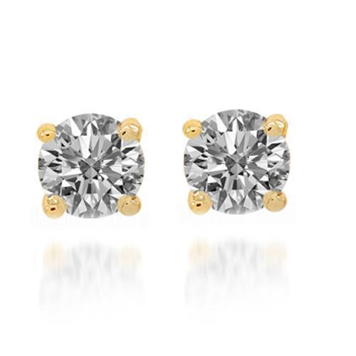 Yellow 14K Yellow Solid Gold Diamond Solitaire Stud Earrings 0.60 Ctw