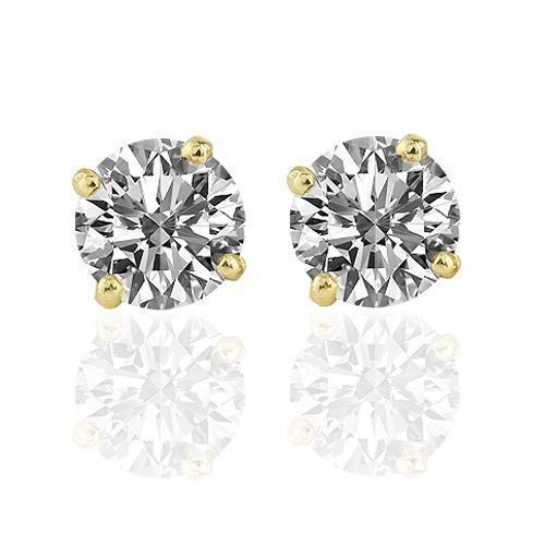 14K Yellow Solid Gold Unisex Massive C.E. Diamond Stud Earrings 4.76 Ctw