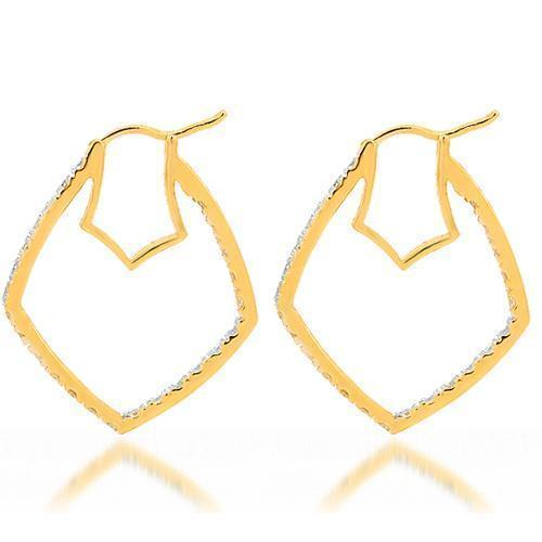 Yellow 14K Yellow Solid Gold Womens Diamond Earrings 1.54 Ctw