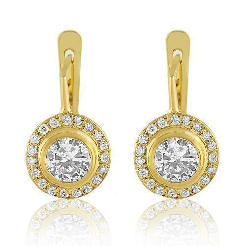 14K Yellow Solid Gold Womens Diamond Earrings 1.75 Ctw