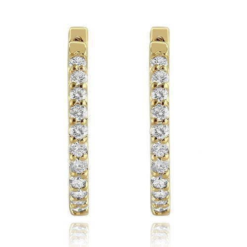 Yellow 14K Yellow Solid Gold Womens Diamond Hoop Earrings  1.50 Ctw
