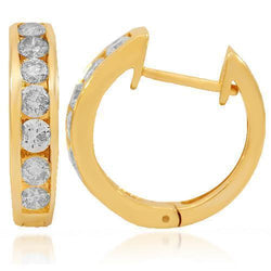 Yellow 14K Yellow Solid Gold Womens Diamond Huggie Earrings 0.95 Ctw