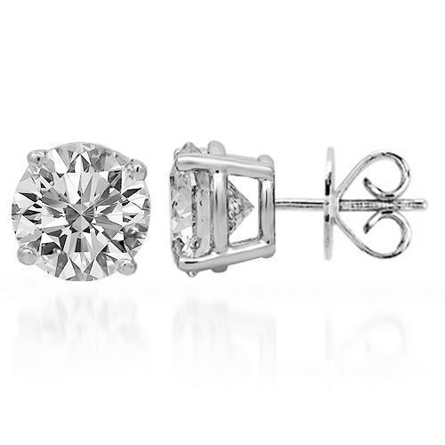 18K Solid White Gold Clarity Enhanced Diamond Solitaire Stud Earrings 2.70 Ctw