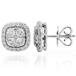 18K Solid White Gold Diamond Stud Earrings 1.25 Ctw