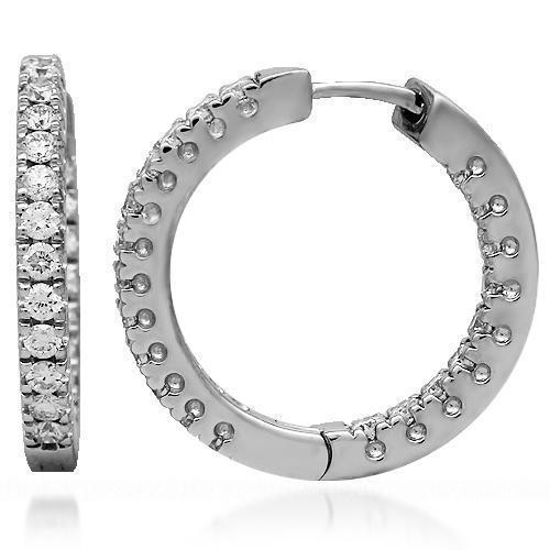 White 18K Solid White Gold Womens Diamond Hoop Earrings 1.00 Ctw