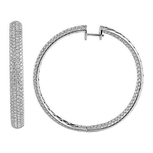 18K Solid White Gold Womens Diamond Pave Hoop Earrings 13.50 Ctw