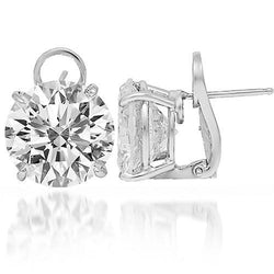 18K Solid White Gold Womens Diamond Solitaire Stud Earrings 15.55 Ctw
