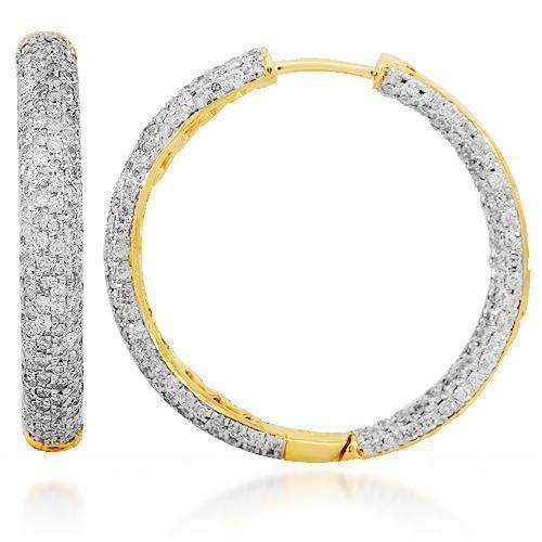 18K Solid Yellow Gold Womens Diamond Hoop Earrings 7.00 Ctw