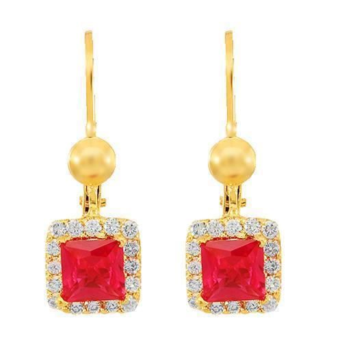 Yellow 18K Solid Yellow Gold Womens Diamond Ruby Earrings 0.40 Ctw