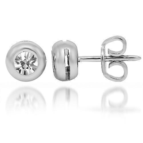 White 18K White Solid Gold Diamond Solitaire  Stud Earrings 0.50 Ctw
