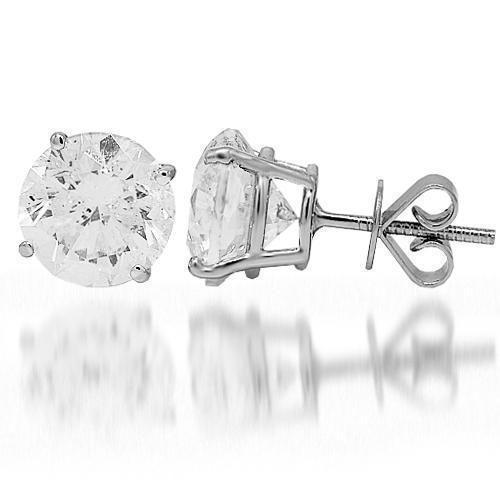 18K White Solid Gold Diamond Solitaire Stud Earrings 6.67 Ctw