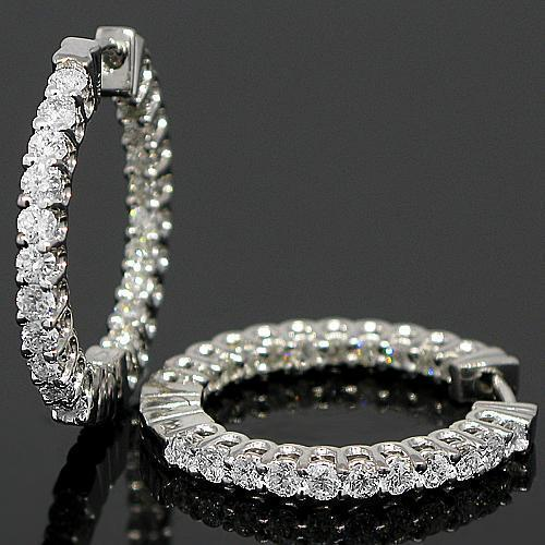White 18K White Solid Gold Womens Diamond Hoop Earrings 1.50 Ctw