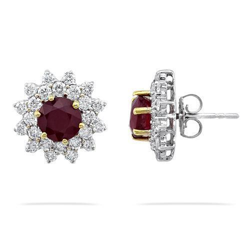 18K White Solid Gold Womens Diamond Ruby Earrings 6.23 Ctw
