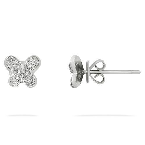 White Diamond Butterfly Earrings in 14k White Gold 0.15 Ctw
