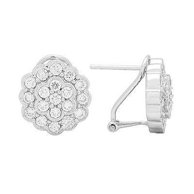 White Diamond Cluster Earrings in Solid White Gold
