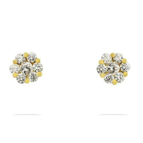 Yellow Diamond Cluster Stud Earrings in 14k White Gold 0.90 Ctw