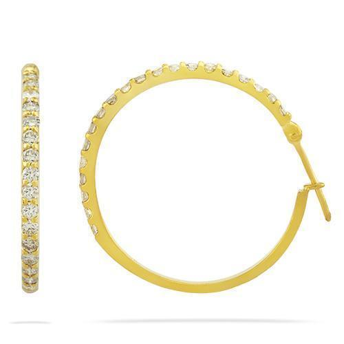 Diamond Hoop Earrings in 14k Yellow Gold 2.50 Ctw