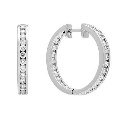 Diamond Hoop Earrings in Solid White Gold