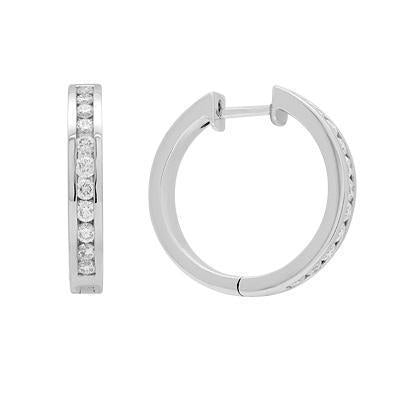 White Diamond Hoop Earrings in Solid White Gold