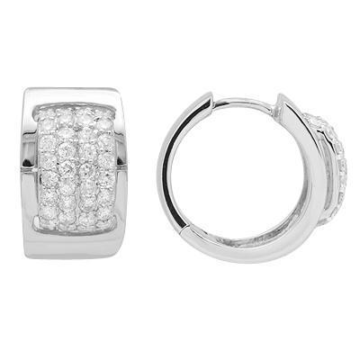 White Diamond Huggie Earring in White Solid Gold