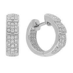 White Diamond Huggie Earrings in Solid White Gold