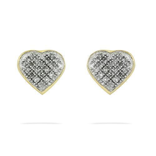 Yellow Diamond Pave Heart Earrings 10k Yellow Gold 0.15 Ctw