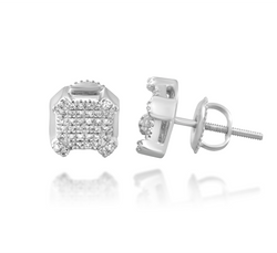 White Diamond Square Earrings in 10k White Gold .13 Ctw