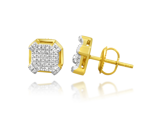 Yellow Diamond Square Earrings in 10k Yellow Gold .13 Ctw