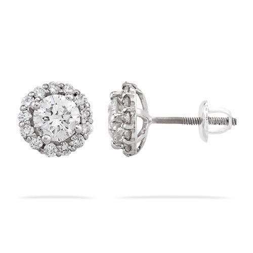 Diamond Stud Cluster Earrings in 14k White Gold 1.75 Ctw