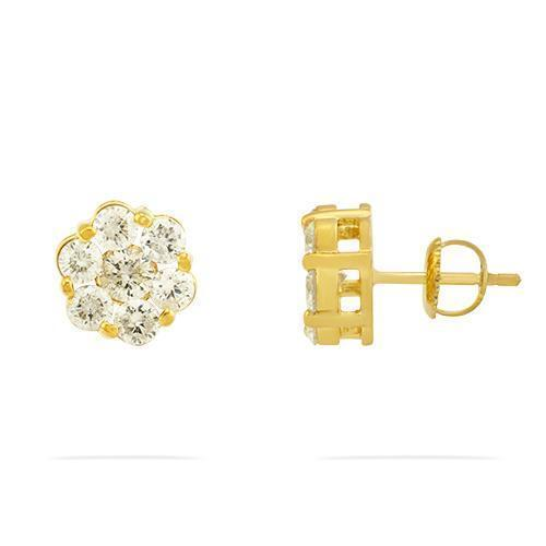 Yellow Diamond Stud Cluster Earrings in 14k Yellow Gold 1.75 Ctw