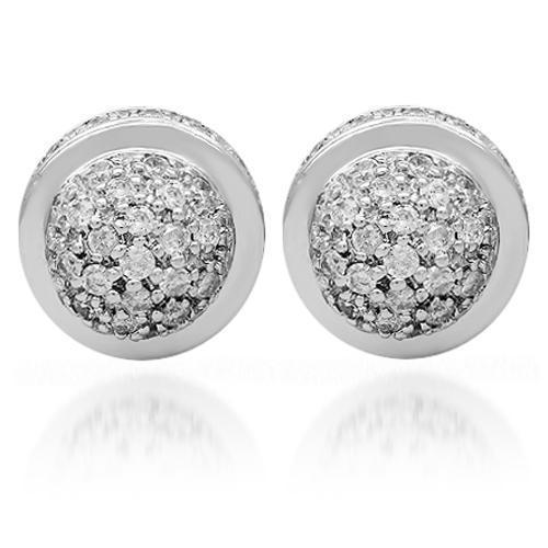 White Half Sphere 3D Cluster Diamond Earrings in 14k White Gold 1.25 Ctw